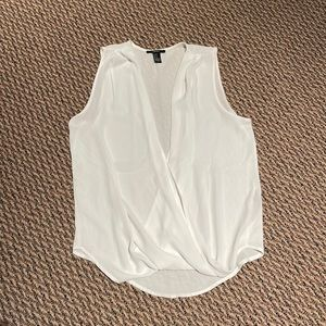 Forever 22 White Open Front Criss Cross Tank Top